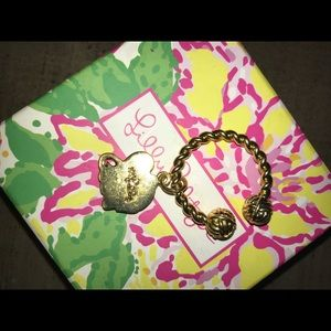 Lilly Pulitzer gold elephant key ring